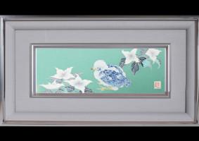 友禅パネル「ヤマボウシに小鳥」